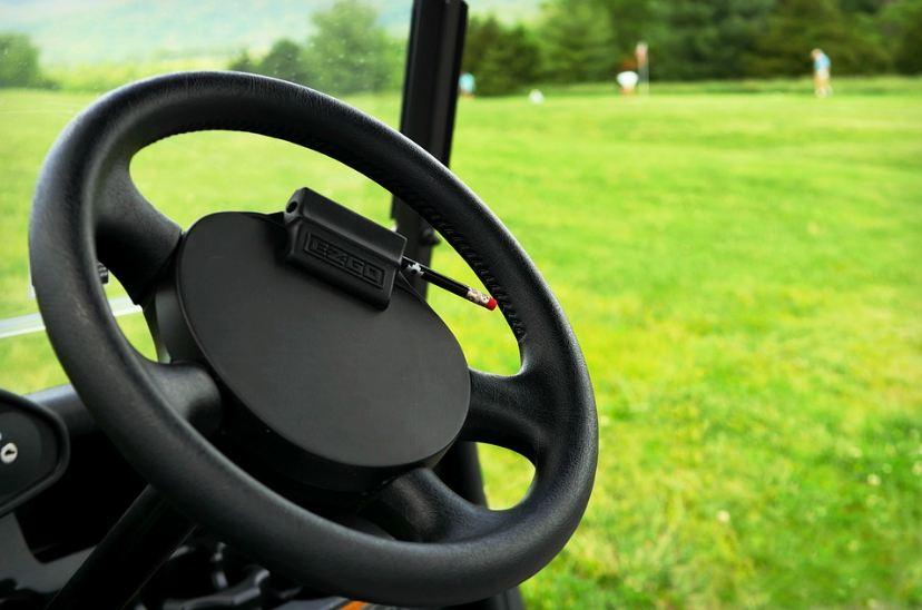 steering wheel of a golf cart, green field